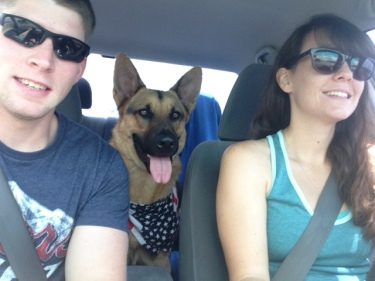 Family photo from this summer. Boyfriend, Jax and Me.